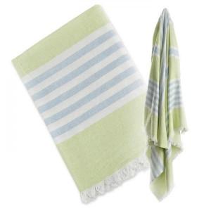 TURKISH TOWEL BADETUCH - LIME GREEN & BLUE
