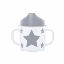Trinklernbecher aus Melamin STARS - grau