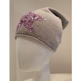 Beanie Mütze Star - hellgrau mit rosa Pailetten