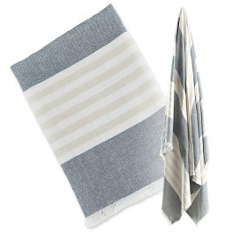 Lulujo-Turkish towel Navy&Oatmeal