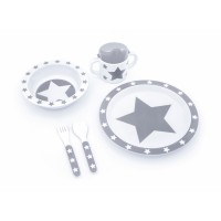 5 teiliges Geschirrset aus Melamin STARS - grau