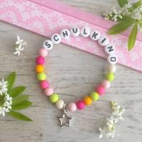 Armband SCHULKIND  - Mädchen mit pink und grün