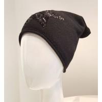 Beanie Mütze Star - schwarz mit schwarzen Pailetten