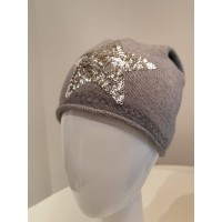 Beanie Mütze Star - hellgrau mit Pailetten