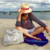 Beach Bag - Silber mit Stern silber