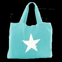 Beach Bag - azzur mit Stern weiß