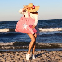 Beach Bag - rose mit Stern silber