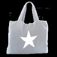 Beach Bag - Silber mit Stern weiß