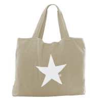 Beach Bag - Taupe mit Stern weiß