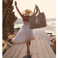 Beach Bag - Taupe mit Stern silber