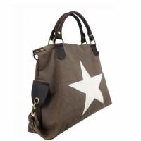 Canvas Tasche dunkelbraun mit Stern