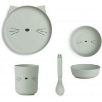 LIEWOOD Geschirr-Set Katze - mint
