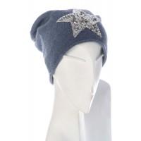 Beanie Mütze Star - blau mit blauen Pailetten