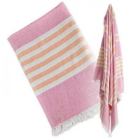 TURKISH TOWEL BADETUCH - PASSION PINK & APRICOT